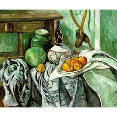 Cezanne - Still Life with Ginger Jar and Eggplants Oil Painting for sale on overArts.com