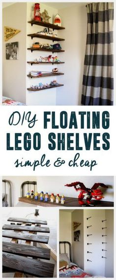 DIY Floating Lego Shelves, Lego Storage, Lego Shelves, Lego Display, www.BrightGreenDo...
