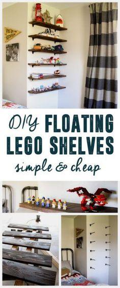DIY Floating Lego Shelves, Lego Storage, Lego Shelves, Lego Display, www.BrightGreenDo...