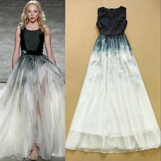 Найти ещё Платья Сведения о Высокое качество новый 2015 взлетно посадочной полосы макси платье женская рукавов градиент цвета печать элегантный длинное платье, высокого качества Платья из Top Fashion Wear на Aliexpress.com