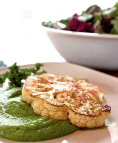 Cauliflower steaks with creamy green pea purée, vegan