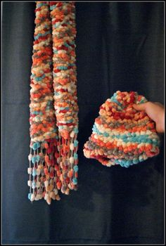 Loom Knitting-Bunnytail Scarf and Hat Set.