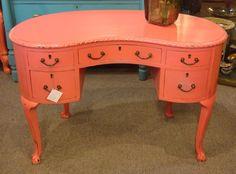 Petite Coral Pink painted Kidney shaped desk w/key 42 x 23d x 27 1/2h Dealer SNC $625