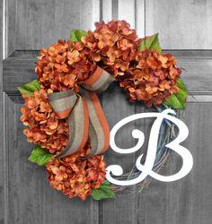 Fall Wreath  Autumn Wreath  Hydrangea Wreath  by Refined Wreath