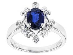 1.27ct Oval Kyanite And .02ctw Round White Zircon Sterling Silver Ring