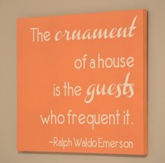 "Free guest room printable ""the ornament of a house is the guests who frequent it. Guest Bedroom Decor, Guest Bedrooms, Welcome Quotes For Guests, Diy Projects To Try, Free Printables, Words, Room Art, Ornament, Design"
