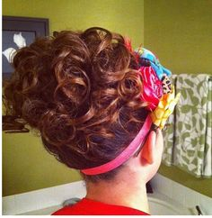 Ok funny story. I was looking at apostolic hairstyles on pintrest and I came across this picture. My friend did my hair for a youth meeting and somehow this picture ended up on pintrest haha! Teen Hairstyles, Fancy Hairstyles, Church Hairstyles, Beautiful Hairstyles, Pentecostal Hairstyles, Long Curly Hair, Curly Bun, Natural Hair Styles, Long Hair Styles
