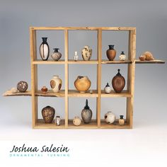 """A collection of 18 nut & seed miniatures ranging from 1/4"""" to 2"""" height, plus two whole and two partial seed pod specimens. Each miniature vessel is turned and hollowed on a lathe, some with matching lids. The display box features half-lap and feather-spline joinery with natural edges and spalted patterns from a Bartram Garden tree  felled by a storm. Display Boxes, Display Case, Tree Felling, Woodworking Inspiration, Contemporary Sculpture, Mosaic Art, Mosaics, Modern Ceramics, Wood Turning"""