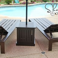 DIY Outdoor Umbrella Stand and Loungers I love Pottery Barn's outdoor furniture but can't afford the price tag. With a small budget and a lot of elbow grease I...