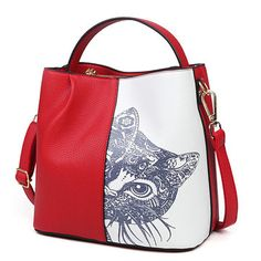 Woman Pu Handbag Crssbody Bag Cat Pattern Shoulder Bag Tote Bag