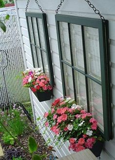 Container Garden from old windows (on the garage?)