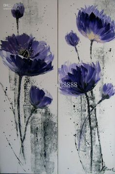 Wholesale Painting - Buy Fashionable Style Hand Painted High Quality Artwork Purple Flowers Home Decoration Unframed Abstract Modern Oil Pai...