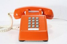 Refurbished Retro Bell Orange Push Button Phone by FishboneDeco, $58.00