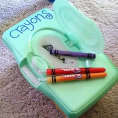 Old wipes container = new toddler-friendly crayon box