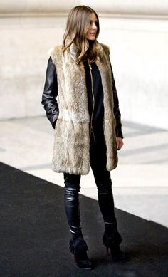 how to wear a fur vest all black olivia palermo