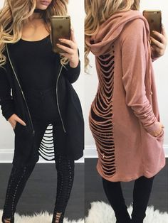 Trendy Back Ladder Hollow Out Knitted Hoodie Sweater Coat