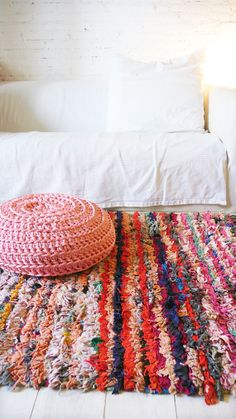 Vintage Moroccan Rag Rug  BOUCHEROUITE  color by lacasadecoto