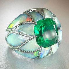 Emerald and opal ring, by Arunashi.