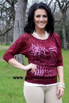 Seconds SALE  Burgundy Animal Print Simple Tunic- NOW IN PLUS SIZE $5.00 Small-3XL www.gugonline.com