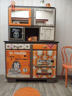 Buffet mado, meuble peint, meuble vintage, meuble rétro, peinture sur meuble, buffet année 50