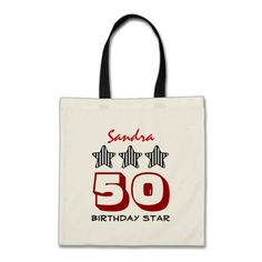 50 Birthday Star or ANY YEAR Custom Name V1A Tote Bags   To see more customizable striped Jaclinart gift items:   http://www.zazzle.com/jaclinart+striped+gifts?st=date_created&ps=120  #stripes #striped #pattern #jaclinart #design #create