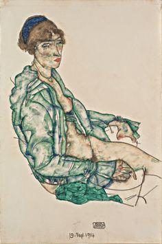 Egon Schiele ~ Schizzo per un Autoritratto..   Le lettere di Schiele