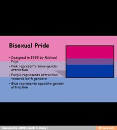 Bi pride flag. This is inaccurate because there are more than two possible genders, and some bisexual people, including myself, acknowledge the possibility that they will be attracted to genders outside of the binary.