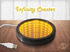 The Original Infinity Mirror Coaster - USB Powered!!! A great addition to any living room, desk, dorm, or bar! Show off the illusion that your glass is floating above an infinite hole through your table top! HOW TO ORDER: +This order is for a coaster with a black edge. Also offered in white!