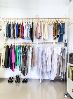 Achieving Max-Org: How We Stay Organized in Our Sewing Studio (Closet Case Files) Hanging Clothes Racks, Hanging Storage, Clothes Drawer Organization, Organization Ideas, Armoire Dresser, Wardrobe Cabinets, Ikea Cabinets, Sewing Studio, Sewing Rooms