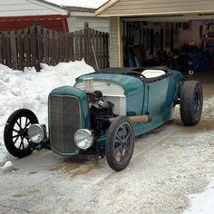 A real, home built Michigan hot rod! 29 roadster on deuce rails.