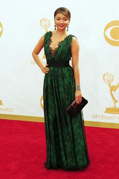 Sarah Hyland in Carolina Herrera On the Red Carpet at the 65th Primetime Emmy Awards [Photo by Amy Graves]