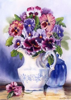 Pitcher of pansies