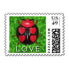 """Ladybug Love"" in the grass Postal Stamp"
