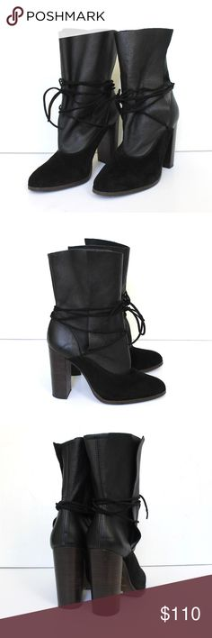 """Topshop Leather & Suede Wrap High Heel Ankle Boots Topshop black suede ankle boots have a leather shaft, suede laces, stacked high heels, leather interior, and a man-made outer sole. Worn twice and in excellent condition. Made in Spain.  Size 38 // They run about a half size small. Best fits US Size 7.5  Heel 4"""" Shaft 7"""" Topshop Shoes Ankle Boots & Booties"""