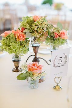 Peach and Green Florals Reception Decor Ideas | photography by http://rebeccaarthurs.com/