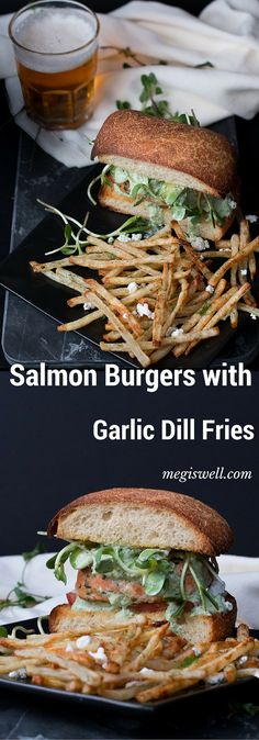 Salmon Burgers with Garlic Dill Fries. Mint, basil, and dill tie juicy ...