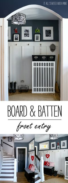Board & Batten Front Entry: Gray and White Home Decor