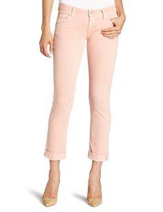 Hudson Women's Bacara Cuffed Crop In Peach Stripe Jean. $132