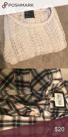 Winter bundle AE sweater knitted brand new!!!!!! And flannel dress brand new:) American Eagle Outfitters Sweaters Crew & Scoop Necks