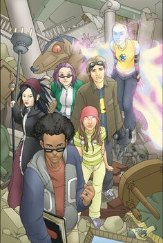 Runaways - Various authors. Great series about a group of kids who find out that their parents are super-villains, and decide to runaway from home, to become heroes!