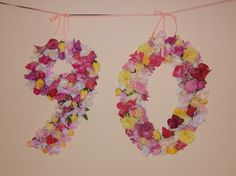 Sign made out of flowers for my Grandma-in-laws 90th Birthday Party
