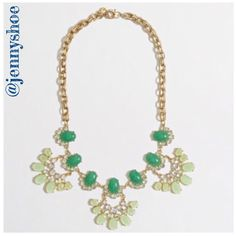 "{j. crew} green stone & crystal fan necklace Gorgeous crystal and stone statement necklace from j. Crew in green.   Zinc casting, epoxy and acrylic stones, cubic zirconia, steel chain. Flash gold plating. Length: 20"". Import.  Gently worn J. Crew Jewelry Necklaces"