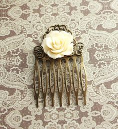 Rose Hair Comb Hair Accessories Cream Ivory by apocketofposies, $19.00