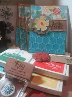 Stampin Up! Flower Shop hexagon embossing folder pansy punch