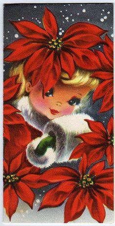 vintage image - christmas girl, muff, poinsettia