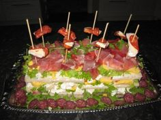 Sandwiches cake with eggs, serrano, brie, chorizo, potatosalad Sandwich Cake, Sandwiches, Chorizo, Brie, Eggs, Desserts, Recipes, Food, Blogging