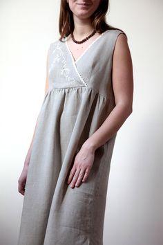 2aae37c7a3 Linen Sleeveless Night Gown Natural For Women   Linen Robe Cotton Nighties