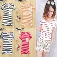 2014 Summer new Korean Slim thin short-sleeved striped cotton Harajuku tide compassionate ladies T-shirt