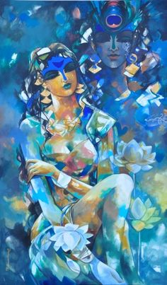 """Painting, Anastasia's expression of the picture """"Woman in colors of her dream and love"""" Shiva Art, Krishna Art, Hindu Art, Krishna Images, Hare Krishna, Indian Folk Art, Indian Artist, Indian Art Gallery, Inspiration Artistique"""