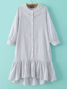 To find out about the Grey Stripe Buttons Front Ruffle Hem Dress at SHEIN, part of our latest Dresses ready to shop online today! Muslim Fashion, Modest Fashion, Hijab Fashion, Fashion Dresses, Simple Dresses, Cute Dresses, Casual Dresses, Casual Outfits, Kurta Designs